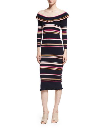 Off-the-Shoulder Striped Rib Midi Dress