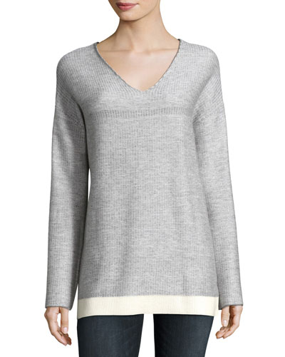 Cashmere-Blend Ribbed V-Neck Sweater