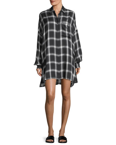 Oversized Plaid Button-Front Shirtdress