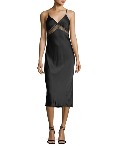 Lace V-Neck Satin Slip Dress
