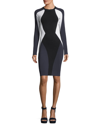Long-Sleeve Bodycon Colorblock Cutout Dress