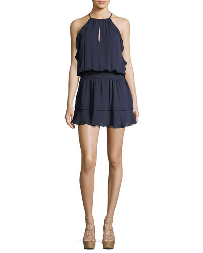 Williame Sleeveless Halter Blouson Silk Dress
