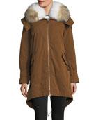 Cuertin Long-Sleeve Hooded Parka Jacket w/ Fur Trim
