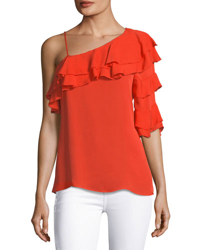 Clayton Asymmetric Ruffled Silk Blouse