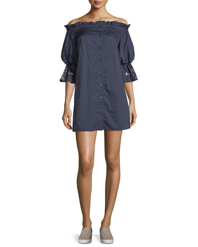 Dakota Off-the-Shoulder Button-Front Shirtdress