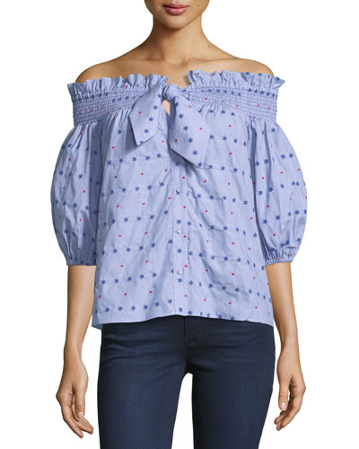 Spade Off-the-Shoulder Embroidered Cotton Top