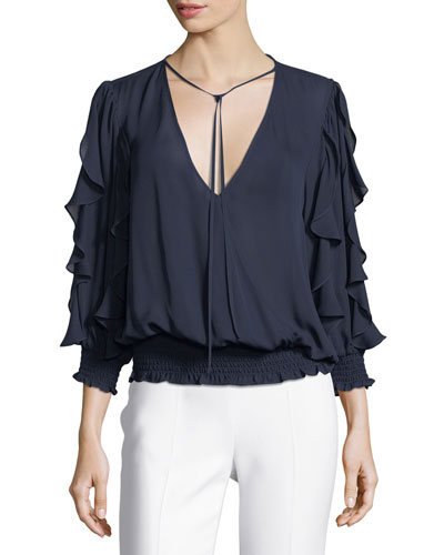 Larah V-Neck Ruffled Silk Satin Blouse