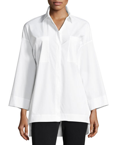 Hensley Stretch-Cotton Blouse, White, Plus Size