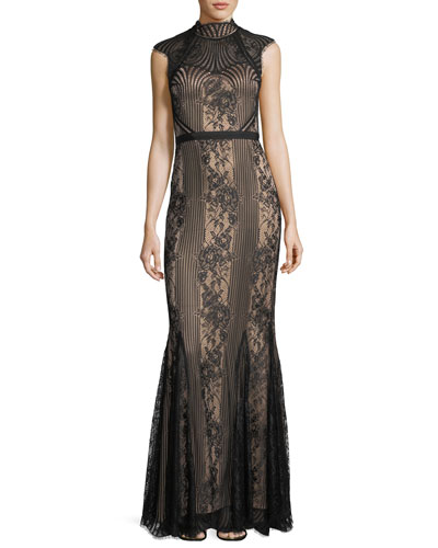 Cap-Sleeve Mock-Neck Lace Gown