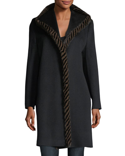 Magnetic Wool Coat w/ Spiral Mink Fur