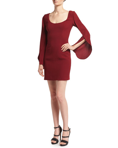 Raven Scoop-Neck Long-Sleeve Cocktail Dress