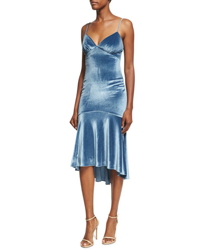 Velvet Flounce-Hem Sleeveless Slip Cocktail Dress