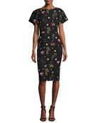 Floral-Print Short-Sleeve Cocktail Dress
