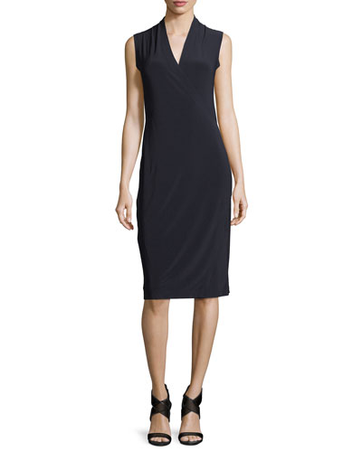 Sleeveless Faux-Wrap Jersey Cocktail Dress