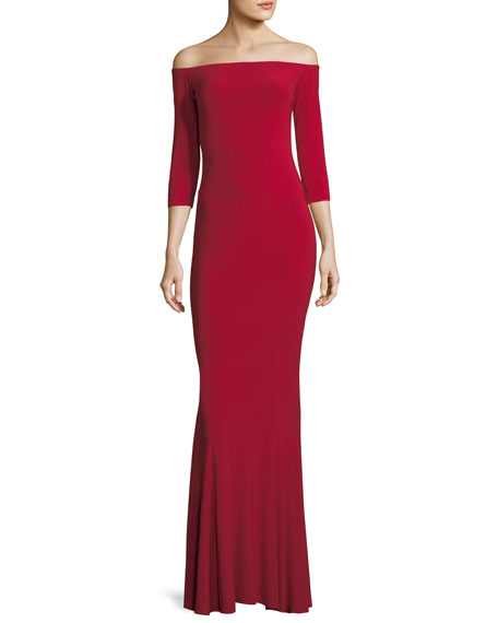 Norma Kamali Off-the-Shoulder 3/4 Sleeve Fishtail Gown