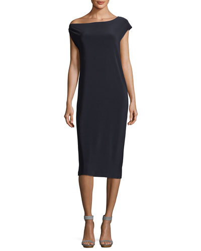 Drop-Shoulder Straight Cocktail Dress