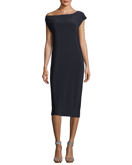 Norma Kamali Drop-Shoulder Straight Cocktail Dress
