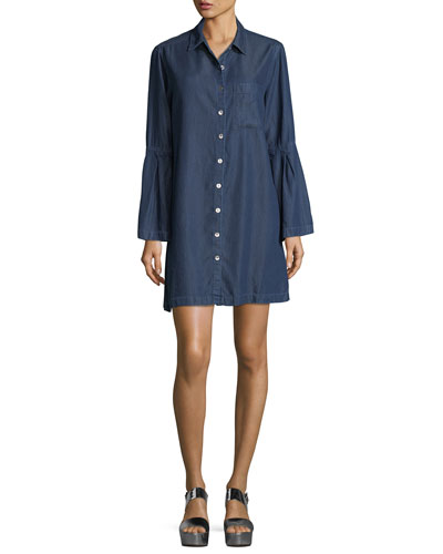 Denim Bell-Sleeve Shirtdress