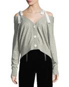 Dash Ribbon Button-Front Wool Cardigan