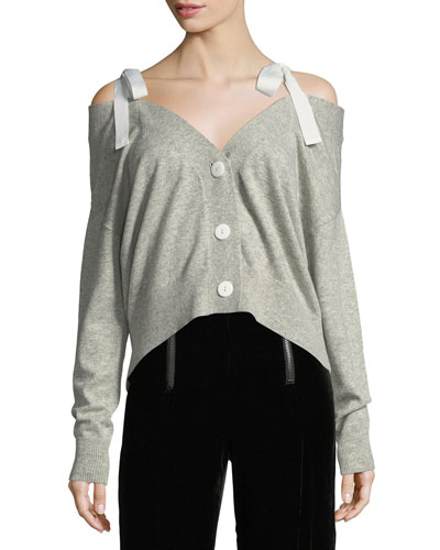 Dash Ribbon Button-Front Wool Cardigan