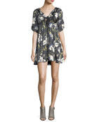Anders Floral-Print Ruched Satin Dress