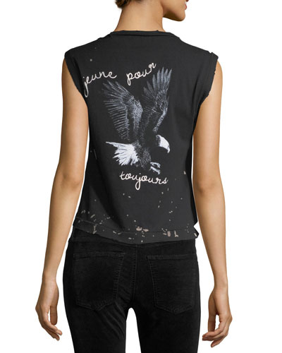 Sauvage Distressed Crewneck Graphic T-Shirt