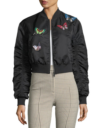 Prince Butterfly Satin Bomber Jacket