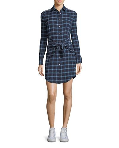 Sadie Plaid Tie-Waist Shirtdress