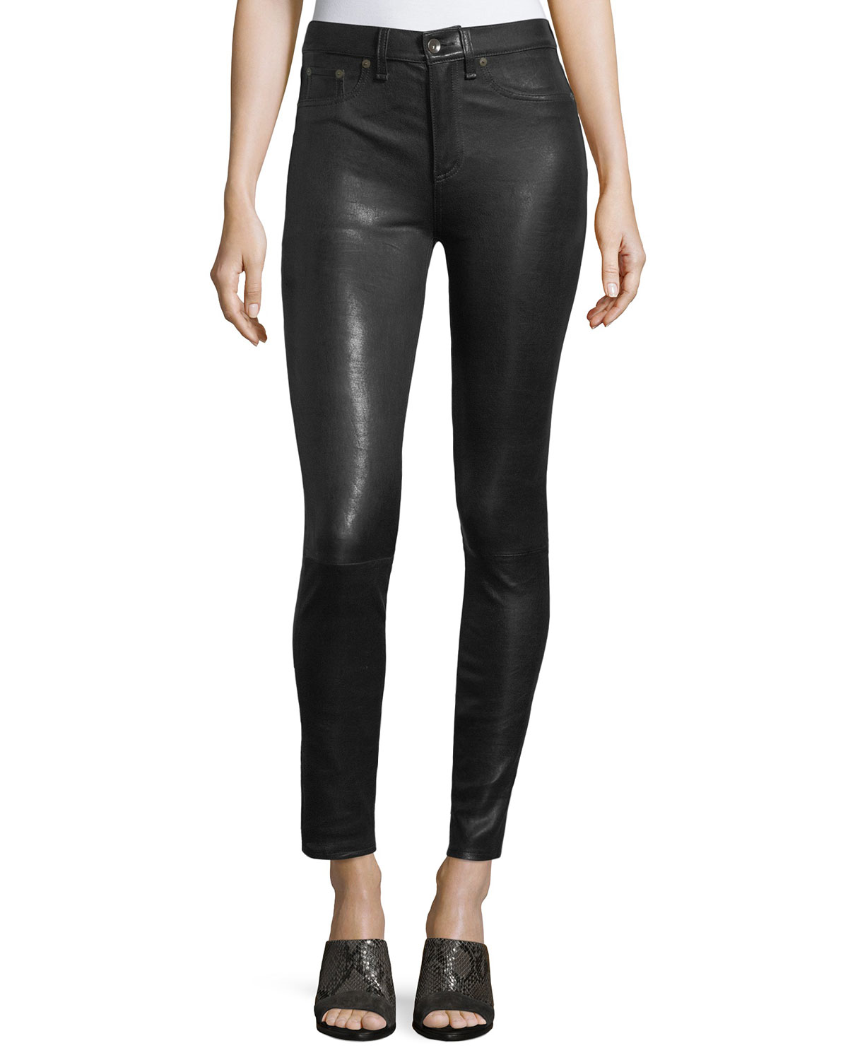 High-Rise Lamb Leather Skinny Pants