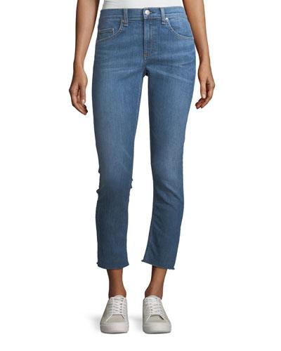 Mid-Rise Ankle Skinny-Leg Jeans w/ Frayed Hem