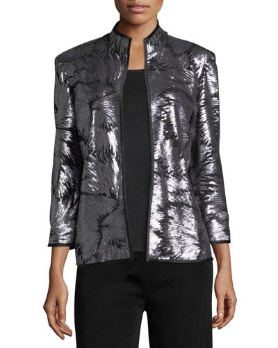 Matte Sequin Burst Jacket, Plus Size