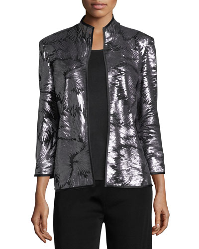 Sequin Burst Jacket, Silver/Black
