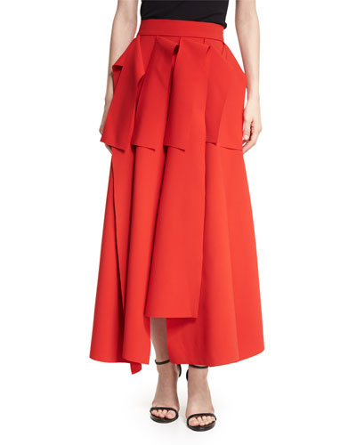 Octopus Tendrils High-Rise Full-Length Draped Skirt