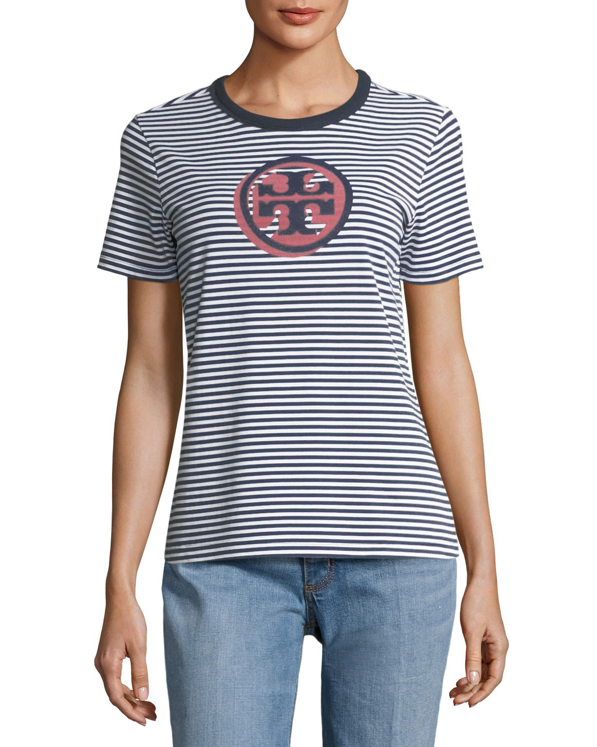 Bria Striped Peruvian Cotton Logo T-Shirt