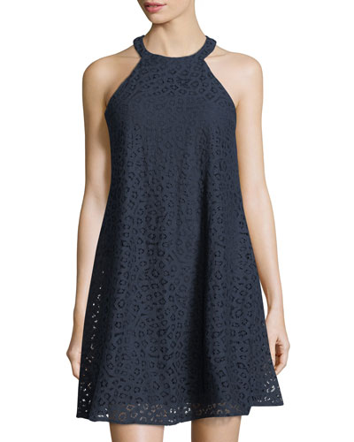 Halter-Neck Lace A-Line Dress