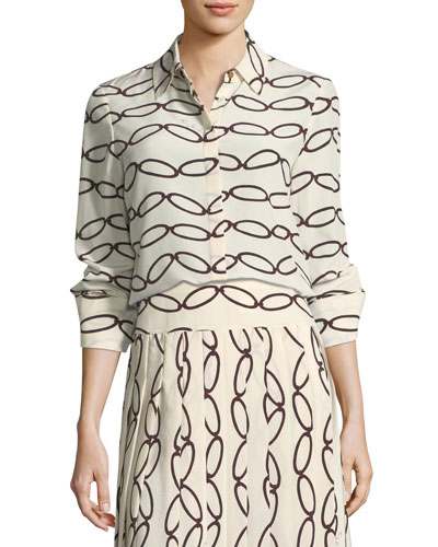 Erica Printed Silk Button-Down Blouse