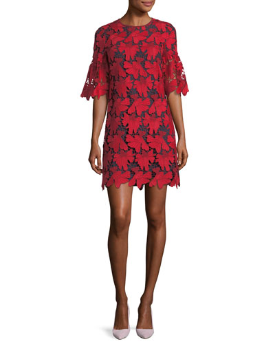 Nicola Half-Sleeve Lace Shift Dress