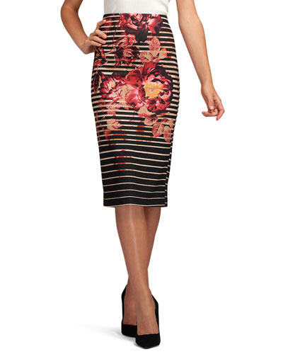 Floral-Print Knit Pencil Skirt