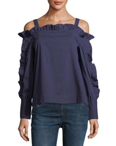 Cold-Shoulder Ruffled Blouse