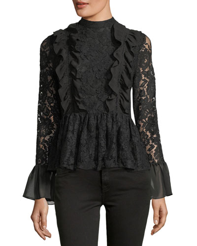 Ruffled Peplum Lace Top