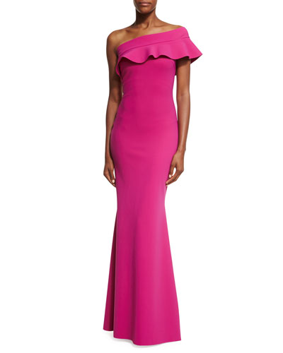 Fia Ruffled One-Shoulder Mermaid Gown