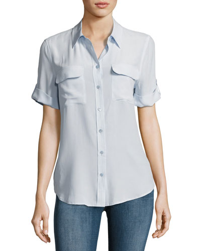 Short-Sleeve Slim Signature Silk Blouse, Light Blue