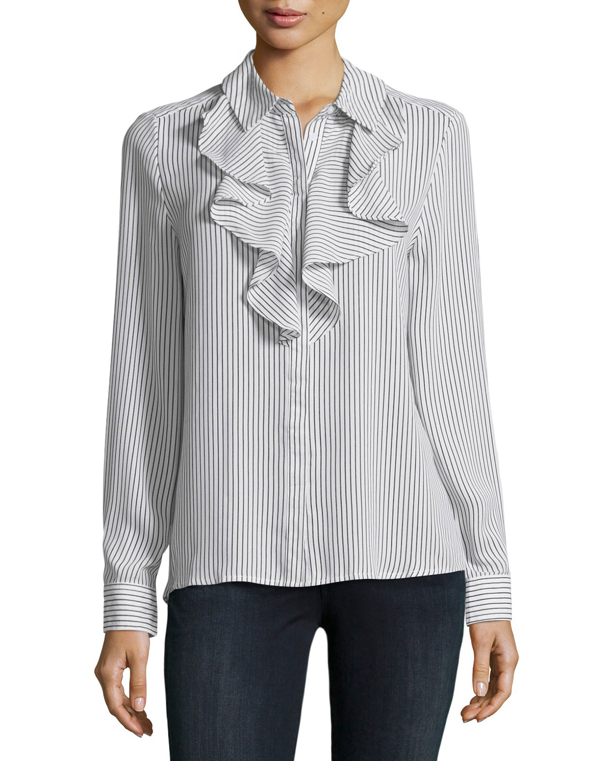 Striped Ruffle-Trim Blouse