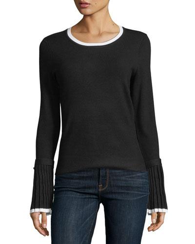 Buckle-Cuff Contrast-Trim Sweater