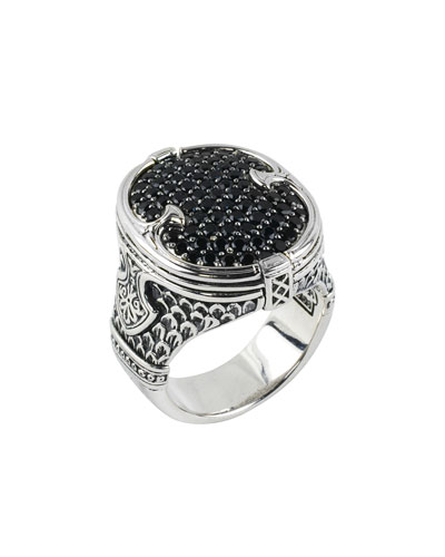Men's Sterling Silver & Pave Spinel Signet Ring