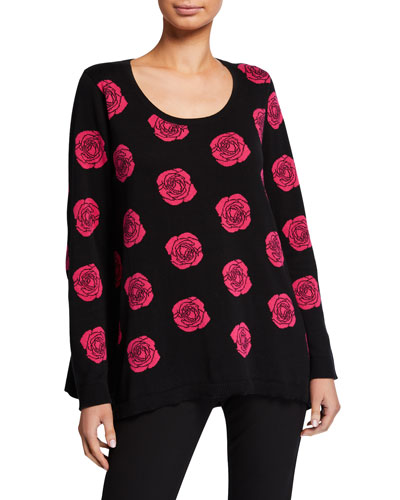 Falling Rose Intarsia Cotton Sweater, Plus Size
