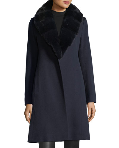Wrap Coat with Mink Fur Collar