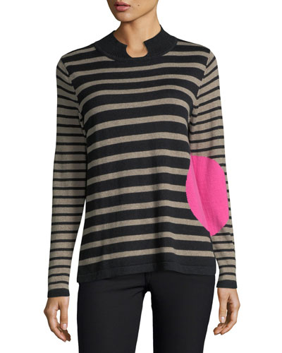 Striped Mock-Neck Sweater, Plus Size