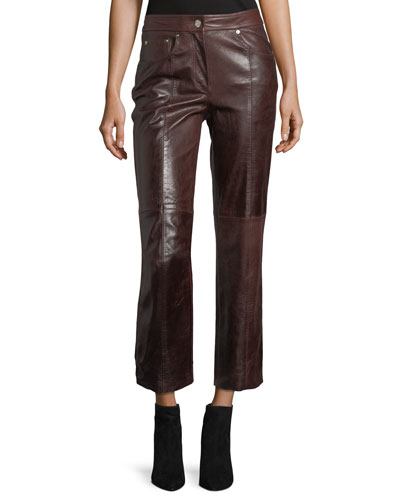 Mid-Rise Cropped Straight-Leg Leather Pants