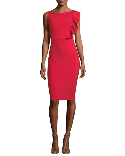 Avital Sleeveless Asymmetric Ruffle Cocktail Sheath Dress